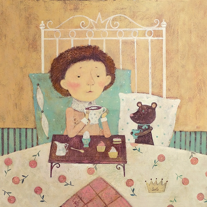 Открытка Кофе в постель. Автор Светлана СоловьеваSvS10-021Оригинальная дизайнерская открытка «Кофе в постель» выполнена из плотного матового картона. На лицевой стороне расположена репродукция работы художницы Светланы Соловьевой с принцем, пьющим утренний кофе.Такая открытка станет великолепным дополнением к подарку или оригинальным почтовым посланием, которое, несомненно, удивит получателя своим дизайном и подарит приятные воспоминания.Размер открытки: 13 х 13 см.