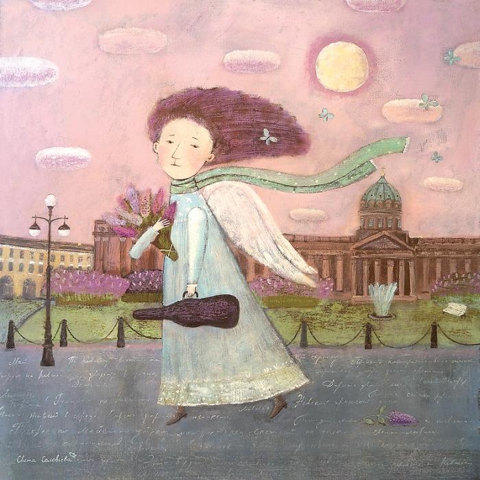Открытка Майский ангел. Автор Светлана СоловьеваSvS10-022Оригинальная дизайнерская открытка «Майский ангел» выполнена из плотного матового картона. На лицевой стороне расположена репродукция работы художницы Светланы Соловьевой с ангелом, идущим по улице Петербурга.Такая открытка станет великолепным дополнением к подарку или оригинальным почтовым посланием, которое, несомненно, удивит получателя своим дизайном и подарит приятные воспоминания.Размер открытки: 13 х 13 см.
