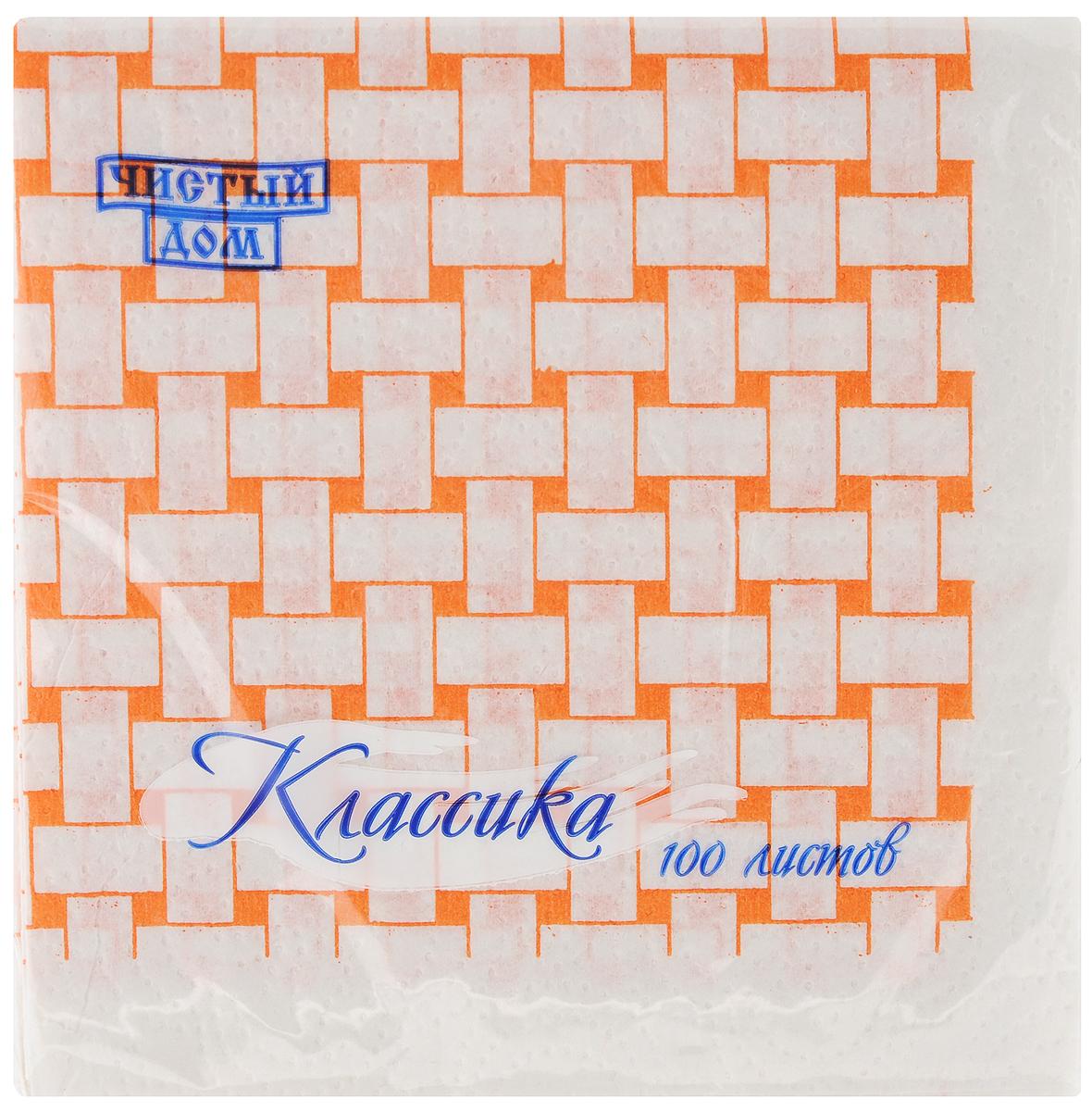 Салфетки бумажные Чистый дом Классика, однослойные, цвет: белый, оранжевый, 25 х 25 см, 100 шт4606920000043Однослойные салфетки Чистый дом Классика выполнены из 100% целлюлозы. Салфетки подходят для косметического,санитарно-гигиенического и хозяйственногоназначения. Нежные и мягкие. Салфетки украшеныузором.Размер салфеток: 25 х 25 см.