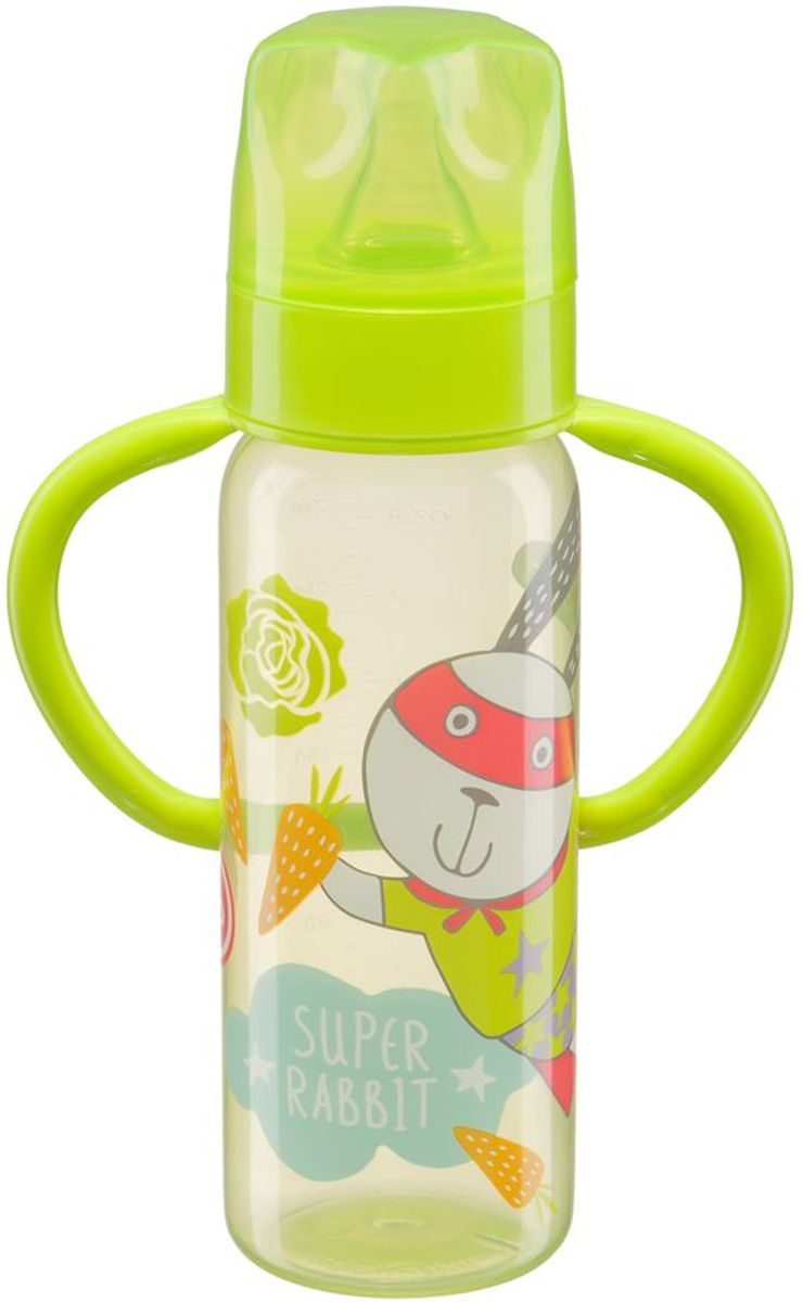Happy Baby Бутылочка для кормления с силиконовой соской от 0 месяцев цвет салатовый 250 мл -  Бутылочки