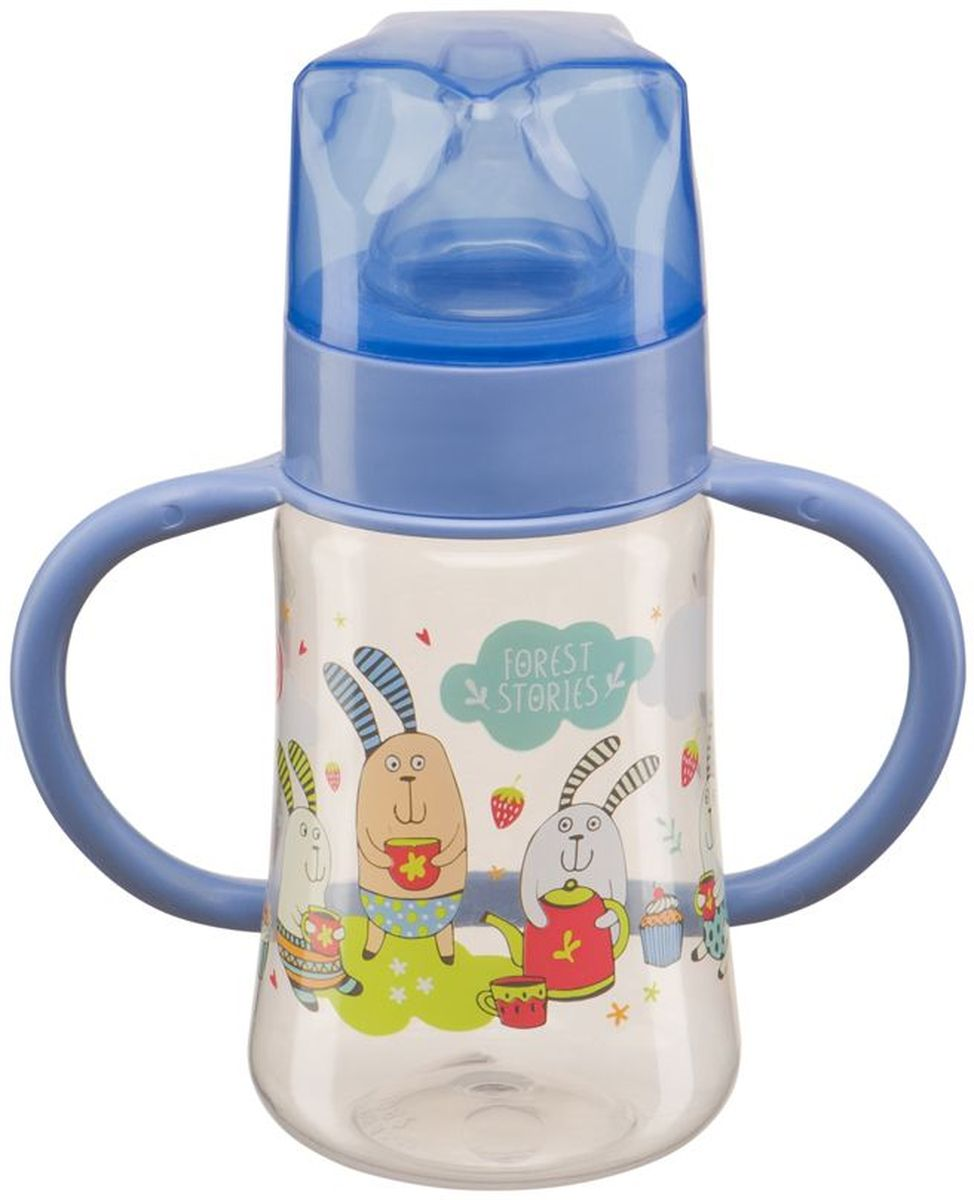 Happy Baby Бутылочка для кормления с силиконовой соской от 0 месяцев цвет голубой 250 мл -  Бутылочки