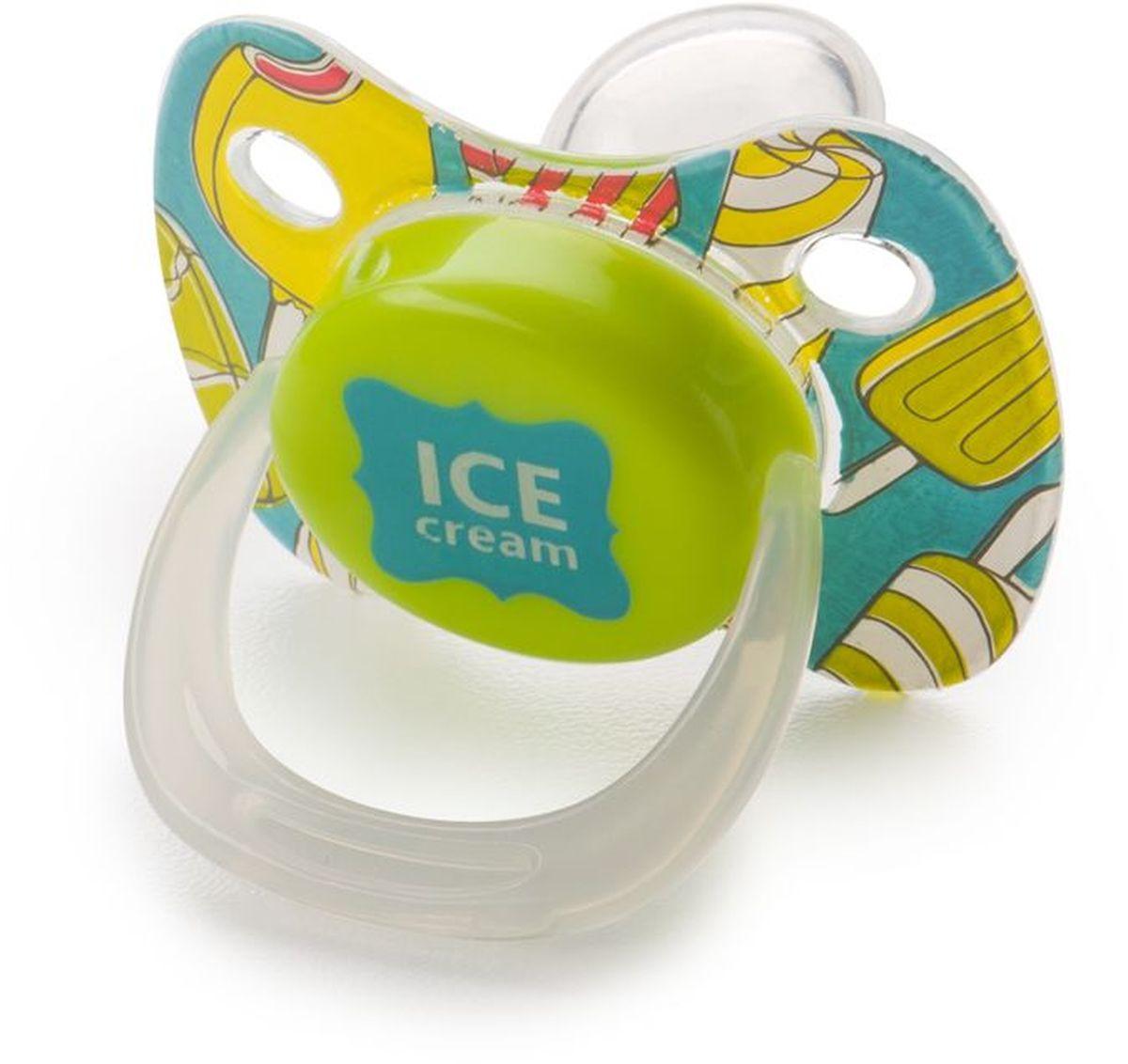 Happy Baby Пустышка силиконовая с колпачком Мороженое от 0 месяцев