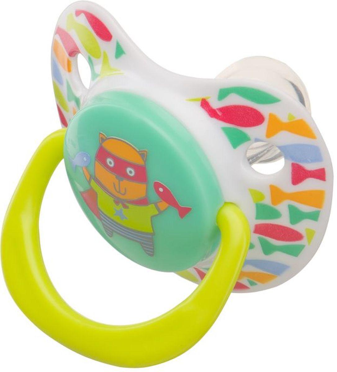 Happy Baby Соска-пустышка ортодонтическая силиконовая с колпачком Кошечка от 0 до 12 месяцев -  Все для детского кормления