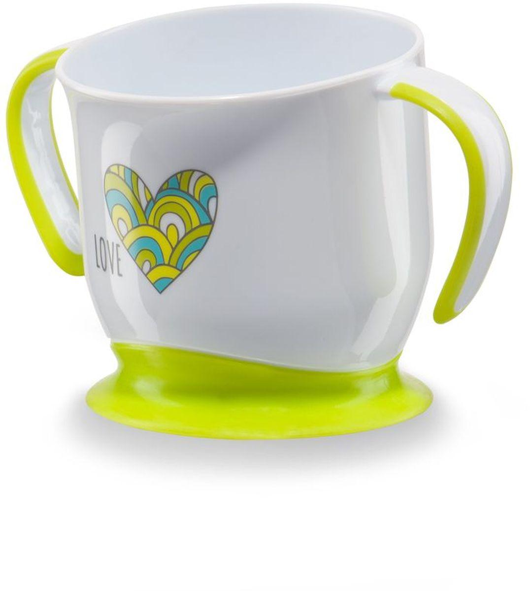 Happy Baby Кружка на присоске цвет белый салатовый15022Кружка на присоске Happy Baby - эргономичная форма создана специально для удобства питья,ручки с анитискользящим покрытием, нескользящее дно с присоской.