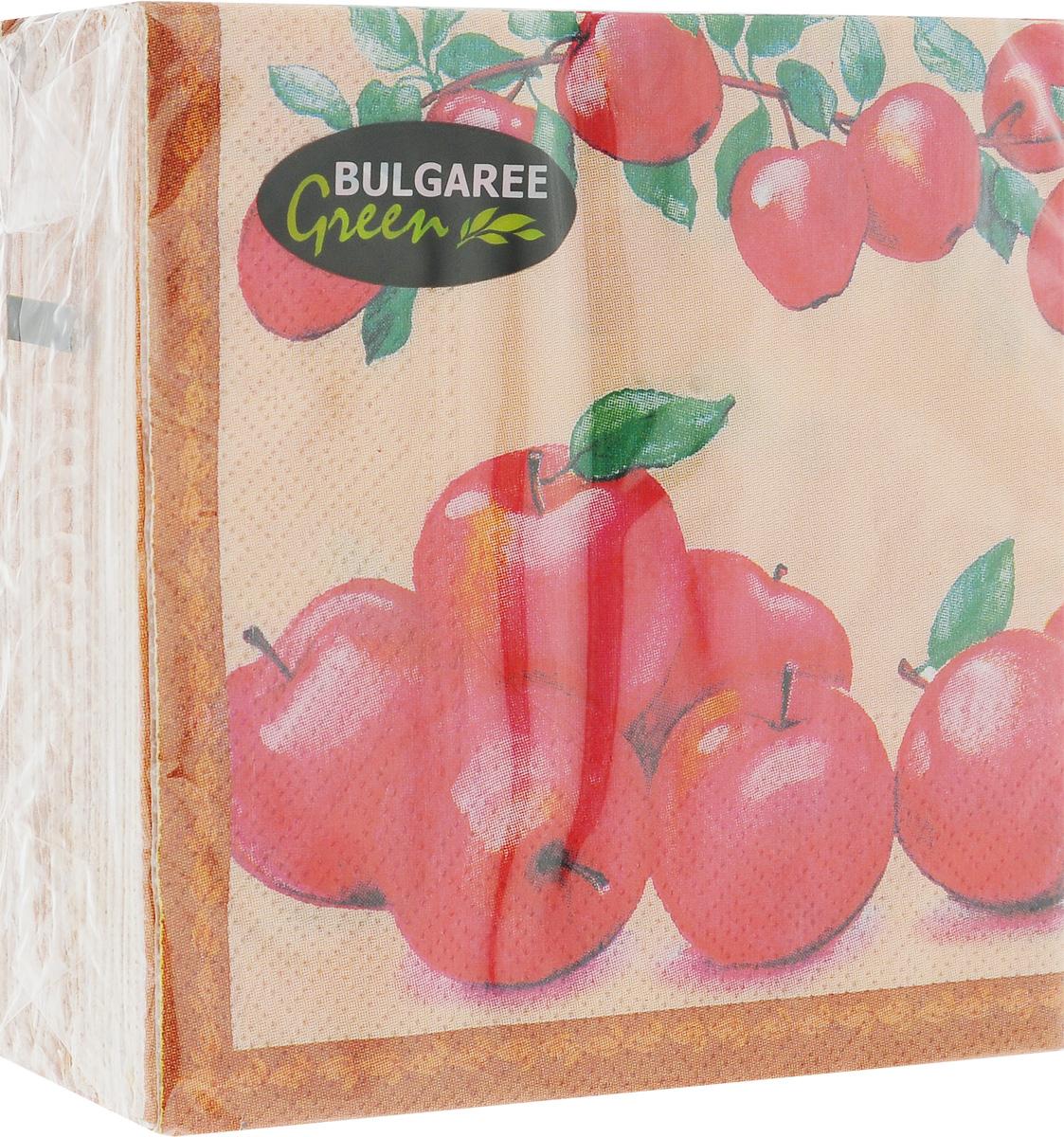 Салфетки бумажные Bulgaree Green Наливные яблочки, двухслойные, 24 х 24 см, 50 шт1000210_Наливные яблочкиДекоративные двухслойные салфетки Bulgaree Green Наливные яблочки выполнены из 100%целлюлозы европейского качества и оформлены ярким рисунком. Изделия станут отличным дополнением любого праздничного стола. Они отличаются необычной мягкостью, прочностью и оригинальностью.Размер салфеток в развернутом виде: 24 х 24 см.