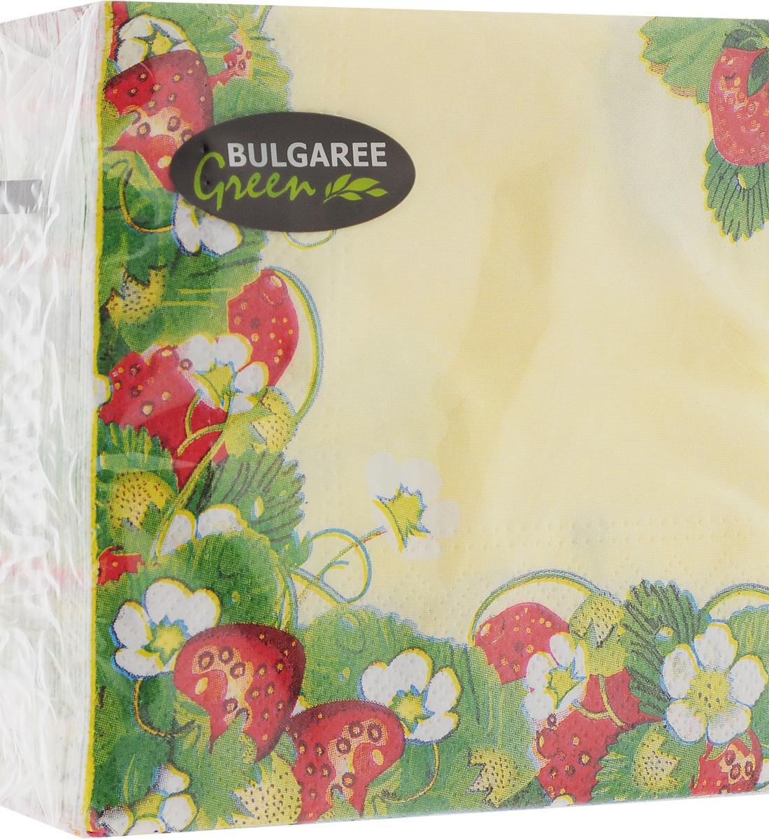 Салфетки бумажные Bulgaree Green Земляника, двухслойные, 24 х 24 см, 50 шт