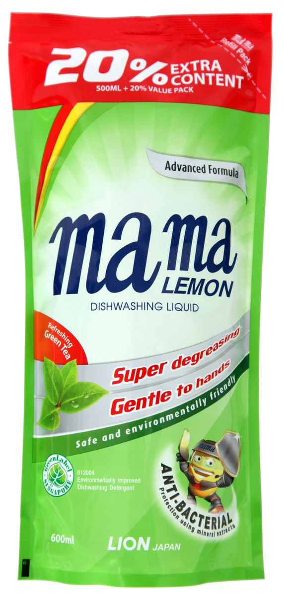Гель для мытья посуды и детских принадлежностей Mama Lemon Green Tea, концентрат, с ароматом зеленого чая, сменная упаковка, 600 мл46336Концентрированный гель Mama Lemon Green Tea на основе природных минералов, подходит для мытья посуды, овощей и фруктов, для мытья детских принадлежностей. Система двойного обезжиривания (AFDS) и тройная концентрация, не сушит руки и устраняет неприятные запахи. Уважаемые клиенты! Обращаем ваше внимание на то, что упаковка может иметь несколько видов дизайна.Поставка осуществляется в зависимости от наличия на складе.Товар сертифицирован.Уважаемые клиенты! Обращаем ваше внимание на то, что упаковка может иметь несколько видов дизайна. Поставка осуществляется в зависимости от наличия на складе.Как выбрать качественную бытовую химию, безопасную для природы и людей. Статья OZON Гид