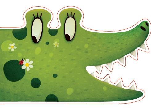 Открытка фигурная с конвертом Крокодил, размер: 14х20 см (+ магнит) открытка крокодил автор варя колесникова