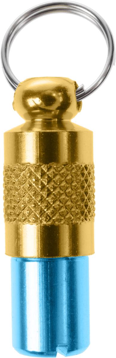 Адресник-капсула Vila, цвет: голубой, золотой, 2,7 х 1 х 1 см92712Адресник-капсула Vila является одним из способов идентификации животных. Корпус изделия выполнен из прочного алюминия. Внутрь капсулы вкладывается информация о животном и владельце, а также она служит украшением к ошейнику.