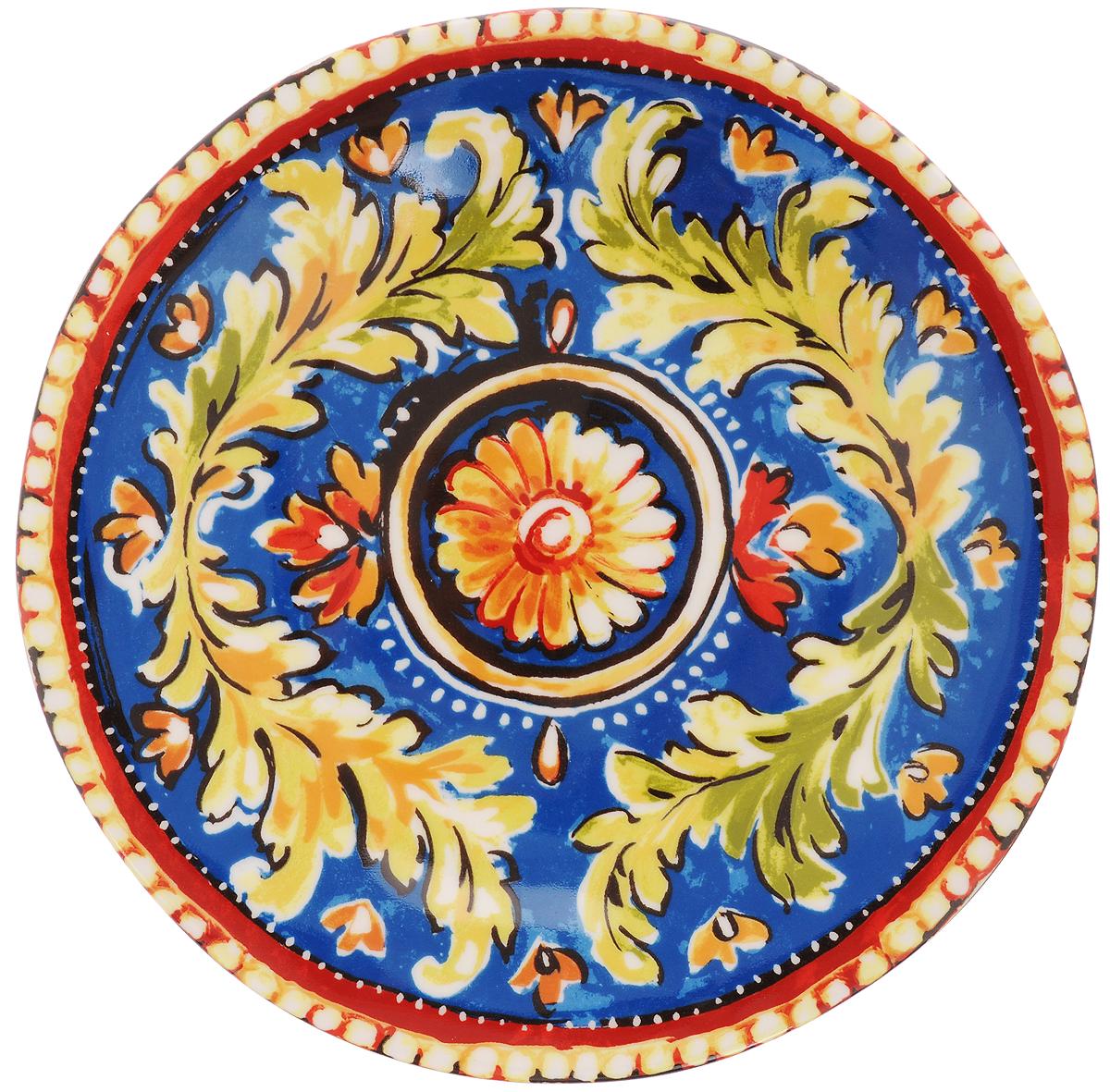 """Десертная тарелка Utana """"Оберон"""" изготовлена из высококачественной керамики. Многоступенчатый высокотемпературный обжиг, двухстороннее глазурование и использование подглазурных деколей обеспечивает прочность черепка керамической посуды, превращая его практически в камень, при этом защищая поверхность от царапин, а рисунок от истирания. Теплые краски глазури, плавные линии росписи, удобство, долговечность и безопасность, европейское качество и многовековая самобытность национального и культурного наследия индонезийских мастеров - вот то, что является отличительными признаками керамической посуды Utana. Любая коллекция этого производителя создает праздничное настроение и уют в каждом доме. Посуда из керамики, имеющая знак 222 FIFHT, - особая линия посуды, очень популярная в Европе и США, каждый дизайн которой уникален и спустя годы будет так же великолепно свеж и привлекателен. Посуду можно использовать в СВЧ и мыть в посудомоечных машинах."""