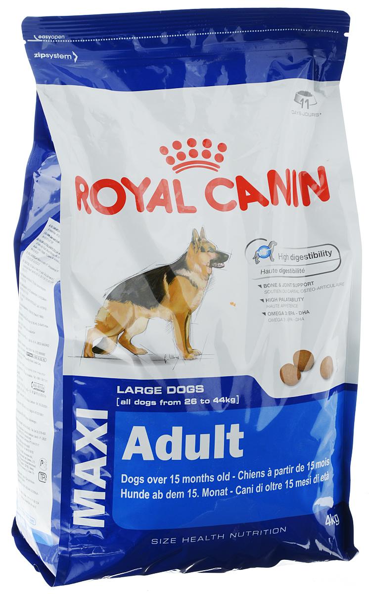 Корм сухой Royal Canin Maxi Adult, для собак весом от 26 до 44 кг в возрасте от 15 месяцев до 5 лет, 4 кг00594Полнорационный сухой корм Royal Canin Maxi Adult предназначен для взрослых собак крупных размеров (вес собаки от 26 до 44 кг) в возрасте от 15 месяцев до 5 лет. Корм способствует оптимальному перевариванию пищи благодаря эксклюзивной рецептуре с очень высоким содержанием белков и сбалансированным количеством пищевых волокон. Поддерживает кости и суставы собак крупных пород при повышенных нагрузках. Вызывает хороший аппетит у собак крупных пород благодаря тщательно подобранным натуральным вкусам и ароматам. Рацион обогащен жирными кислотами Омега-3 (EPA-DHA) для сохранения здоровой кожи.Состав: кукуруза, дегидратированные белки животного происхождения (птица), кукурузная мука, животные жиры, дегидратированные белки животного происхождения (свинина), гидролизат белков животного происхождения, свекольный жом, кукурузная клейковина, минеральные вещества, рыбий жир, соевое масло, дрожжи, гидролизат из панциря ракообразных (источник глюкозамина), гидролизат из хряща (источник хондроитина).Добавки (в 1 кг): витамин A 15500 ME, витамин D3 1000 ME, железо 37 мг, йод 3,7 мг, марганец 48 мг, цинк 145 мг, сeлeн 0,06 мг. Технологические добавки: клиноптилолит осадочного происхождения 5 г, сорбат калия, пропилгаллат, БГА.Содержание питательных веществ: белки 26%, жиры 17%, минеральные вещества 6,5% - клетчатка пищевая 1,2% в 1 кг. Жирные кислоты Омега 3 7,7 г, в том числе жирные кислоты EPA и DHA 4 г, медь 15 мг.Товар сертифицирован.