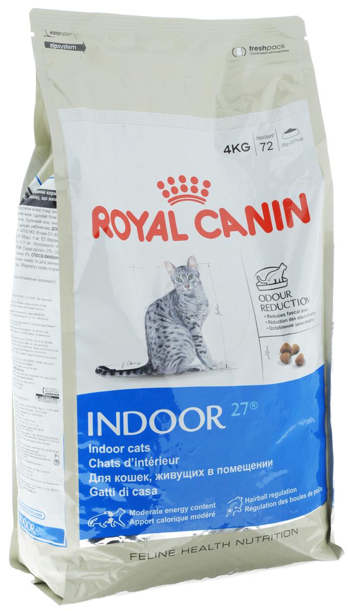 Корм сухой Royal Canin Indoor 27, для кошек в возрасте от 1 года до 7 лет, живущих в помещении, для ослабления запаха фекалий, 4 кг00695Сухой корм Royal Canin Indoor 27 - полнорационное питание для кошек от 1 до 7 лет, живущих в помещении.Кошка, постоянно живущая в помещении, ограничена в движении, поэтому большую часть своего времени она тратит на сон и прием пищи. Низкая активность кошки вызывает вялую работу кишечника и, как следствие, появление жидкого стула с резким неприятным запахом. У домашних кошек повышается риск появления избыточного веса.Ежедневное вылизывание шерсти приводит к образованию волосяных комочков в желудке кошки.Ослабление запаха фекалий.Ослабляет запах фекалий кошки благодаря высокому содержанию L.I.P. Высокоперевариваемый корм Royal Canin Indoor 27 способствует значительному ослаблению запаха стула кошки в результате уменьшения выделения сероводорода - зловонного газа, выделяющегося из фекалий.Умеренное содержание энергии: способствует уменьшению жировых отложений у кошек за счет умеренного содержания калорий и добавления L-карнитина (50 мг/кг). Выведение волосяных комочков: стимулирует кишечный транзит благодаря сочетанию ферментируемой и неферментируемой клетчатки.Состав: кукуруза, дегидратированное мясо домашней птицы, рис, изолят растительного белка, пшеница, животные жиры, гидролизат белков животного происхождения, растительная клетчатка, минеральные вещества, свекольный жом, соевое масло, фруктоолигосахариды, дрожжи, рыбий жир.Добавки (на 1 кг):Витамин А - 14700 МЕ, Витамин D3 - 800 МЕ, Е1 (железо) - 50 мг, Е2 (йод) - 5 мг, Е5 (марганец) - 56 мг, Е6 (цинк) - 194 мг, Селен - 0,11 мг, консервант: сорбат калия, антиоксиданты: пропигаллат, БГА.Товар сертифицирован.