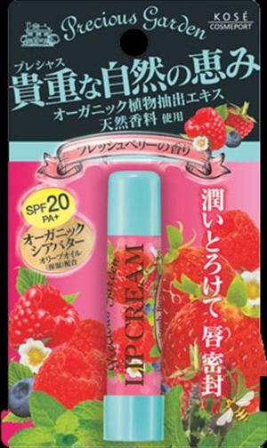 Кose Бальзам для губ Свежие ягоды с органическими экстрактами растений Cosmeport Precious Garden383799Бальзам для губ с органическими растительными ингредиентами. Кисло-сладкий аромат свежих ягод. Надежно защищает чувствительную кожу губ - летом от ультрафиолетового излучения, зимой от мороза, а весной и осенью от обветривания (SPF20?PA+).Способ применения: Откройте колпачок помады и нанесите на губы тонким слоем. Меры предосторожности:Храните в месте недоступном для детей. Плотно закрывайте крышку после использования. Хранить в сухом прохладном месте.