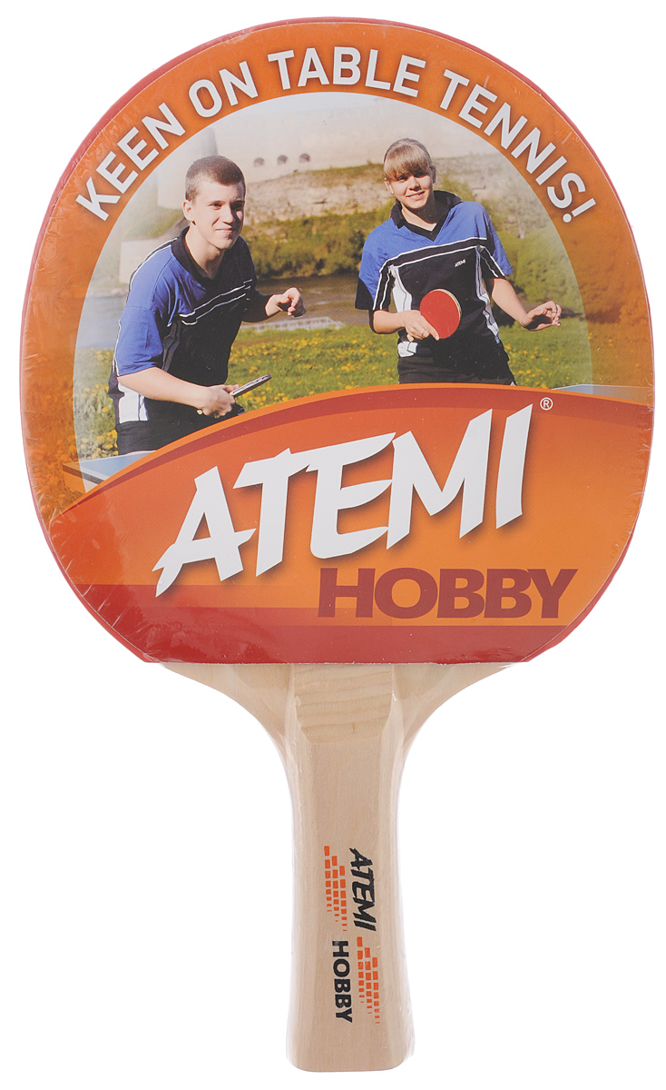 Ракетка для настольного тенниса Atemi Hobby, цвет: красный, черный турник 1 треххватный atemi atd 1