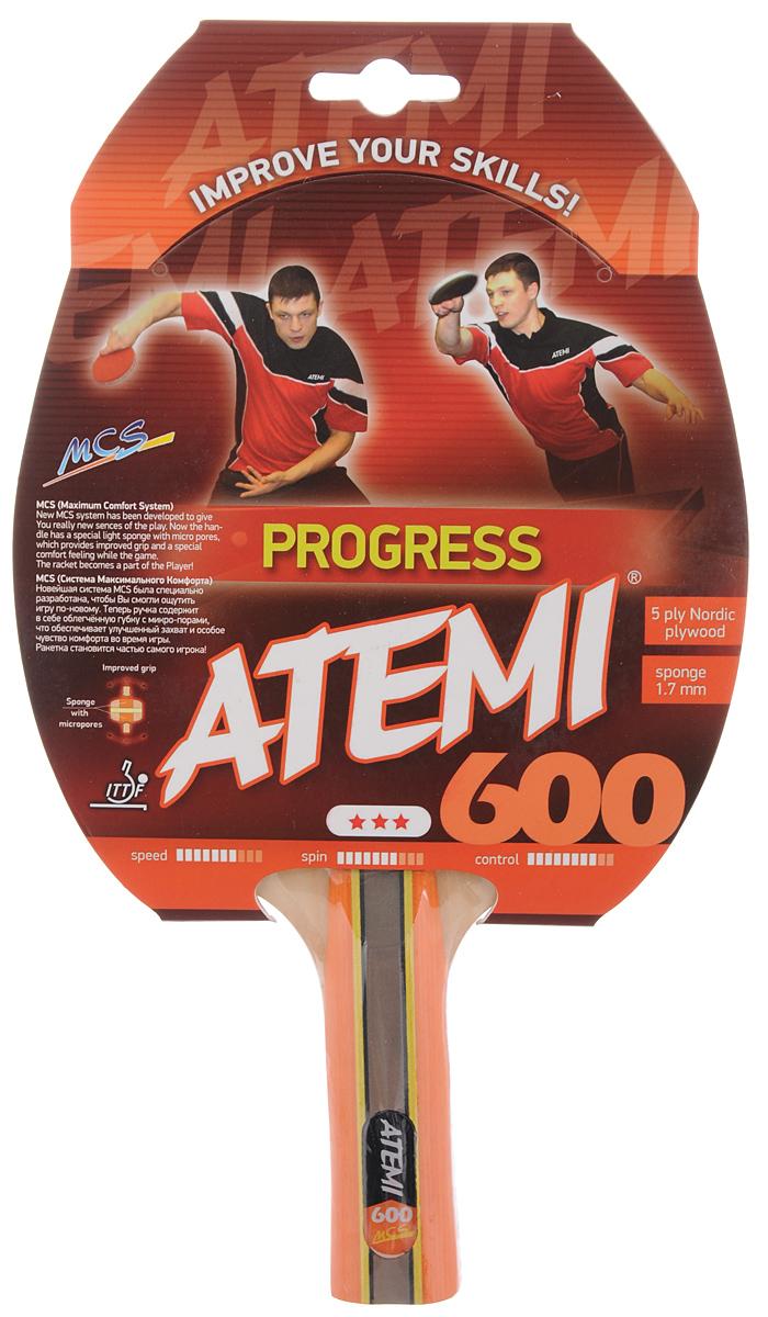"""Ракетка Atemi """"Progress 600"""" тренировочного класса имеет основание из 5 слоев скандинавских пород древесины. Анатомическая форма ручки с системой MCS (система максимального комфорта) была специально разработана для лучшего ощущения игры. Ручка содержит в себе облегченную губку с микропорами, что обеспечивает улучшенный захват и особое чувство комфорта во время игры.Основные характеристики: Контроль: 8.Скорость: 7.Кручение: 7.Толщина каучукового слоя: 1,7 мм."""