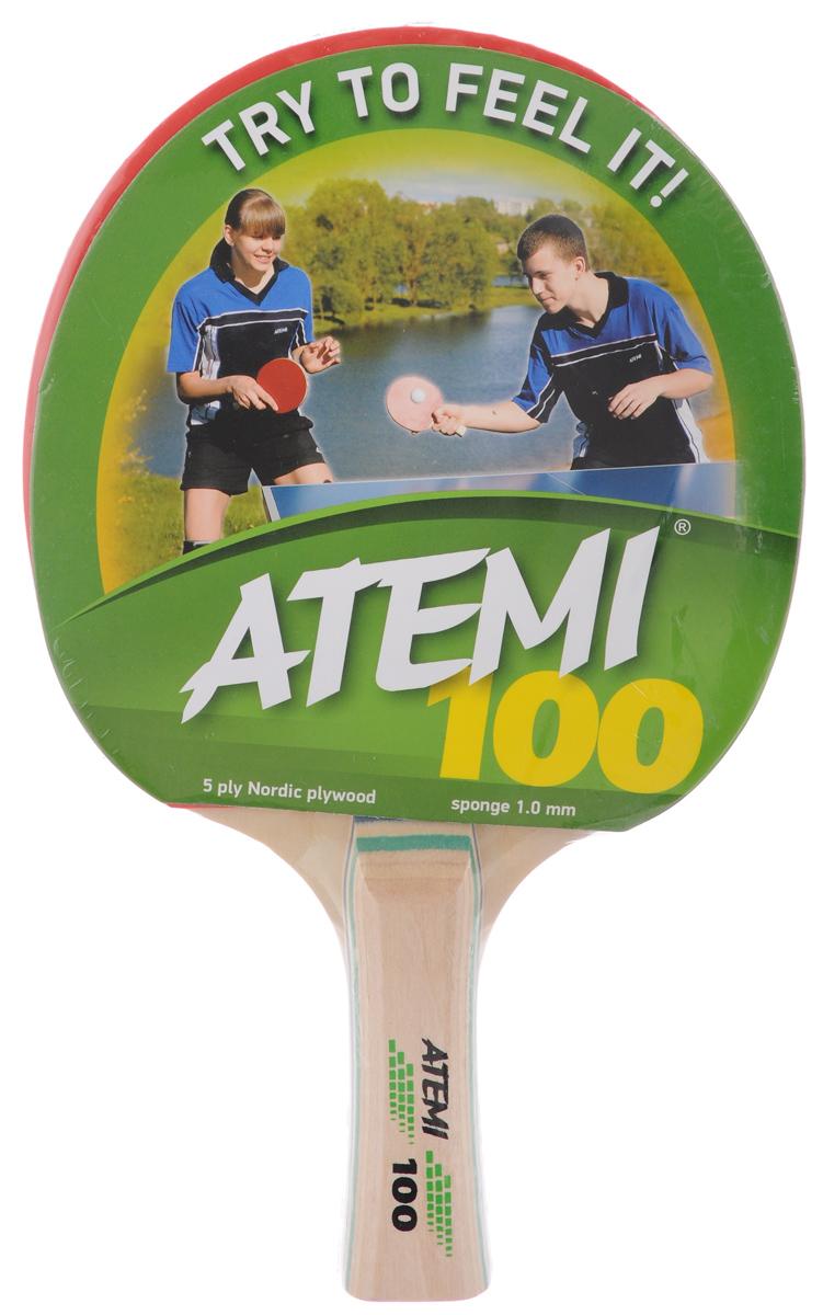 Ракетка для настольного тенниса Atemi 100, цвет: красный, черный ракетка для настольного тенниса cornilleau sport 100 gatien цвет красный
