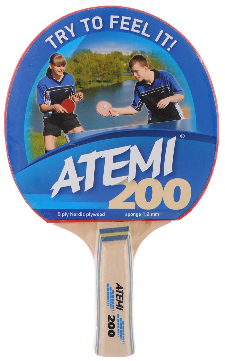 Ракетка для настольного тенниса Atemi 200, цвет: красный, черный ракетка для настольного тенниса cornilleau sport 100 gatien цвет красный