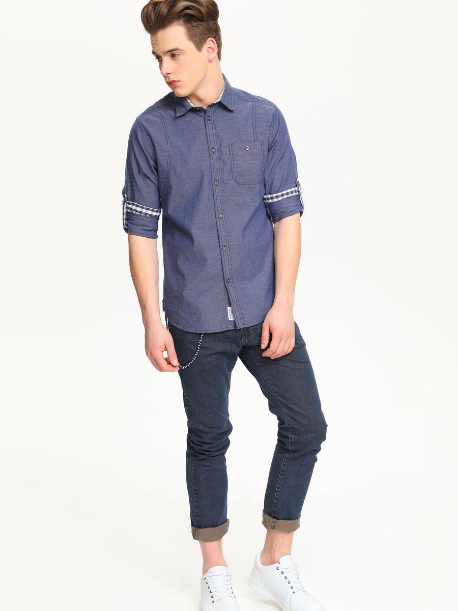 Рубашка мужская Top Secret, цвет: темно-синий. SKL1977GR. Размер 44/45 (52)SKL1977GRСтильная мужская рубашка Top Secret, выполненная из натурального хлопка, обладает высокой теплопроводностью, воздухопроницаемостью и гигроскопичностью, позволяет коже дышать, тем самым обеспечивая наибольший комфорт при носке.Модель приталенного кроя с отложным воротником застегивается на пуговицы. На груди имеется накладной карман на пуговице. Длинные рукава рубашки дополнены манжетами на пуговицах. При желании рукава модели можно подвернуть, зафиксировав отвороты с помощью хлястика на пуговице. Такая рубашка подчеркнет ваш вкус и поможет создать великолепный стильный образ.
