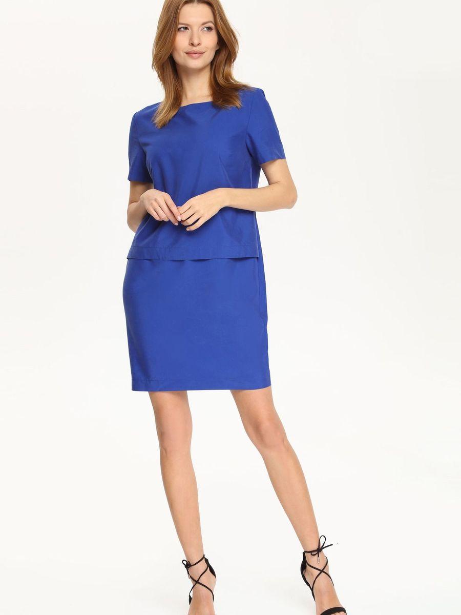 Платье Top Secret, цвет: синий. SSU1510NI. Размер 34 (40)SSU1510NIПлатье Top Secret поможет создать яркий и стильный образ. Платье, изготовленное из полиэстера, модала и лиоцелла, очень мягкое, тактильно приятное, хорошо вентилируется. Модель с круглым вырезом горловины и короткими рукавами застегивается сзади на скрытую молнию. Сзади предусмотрен небольшой разрез. Отделка верхней части изделия придает платью эффект 2 в 1. Такое платье займет достойное место в вашем гардеробе, а также подарит вам комфорт в течение всего дня.