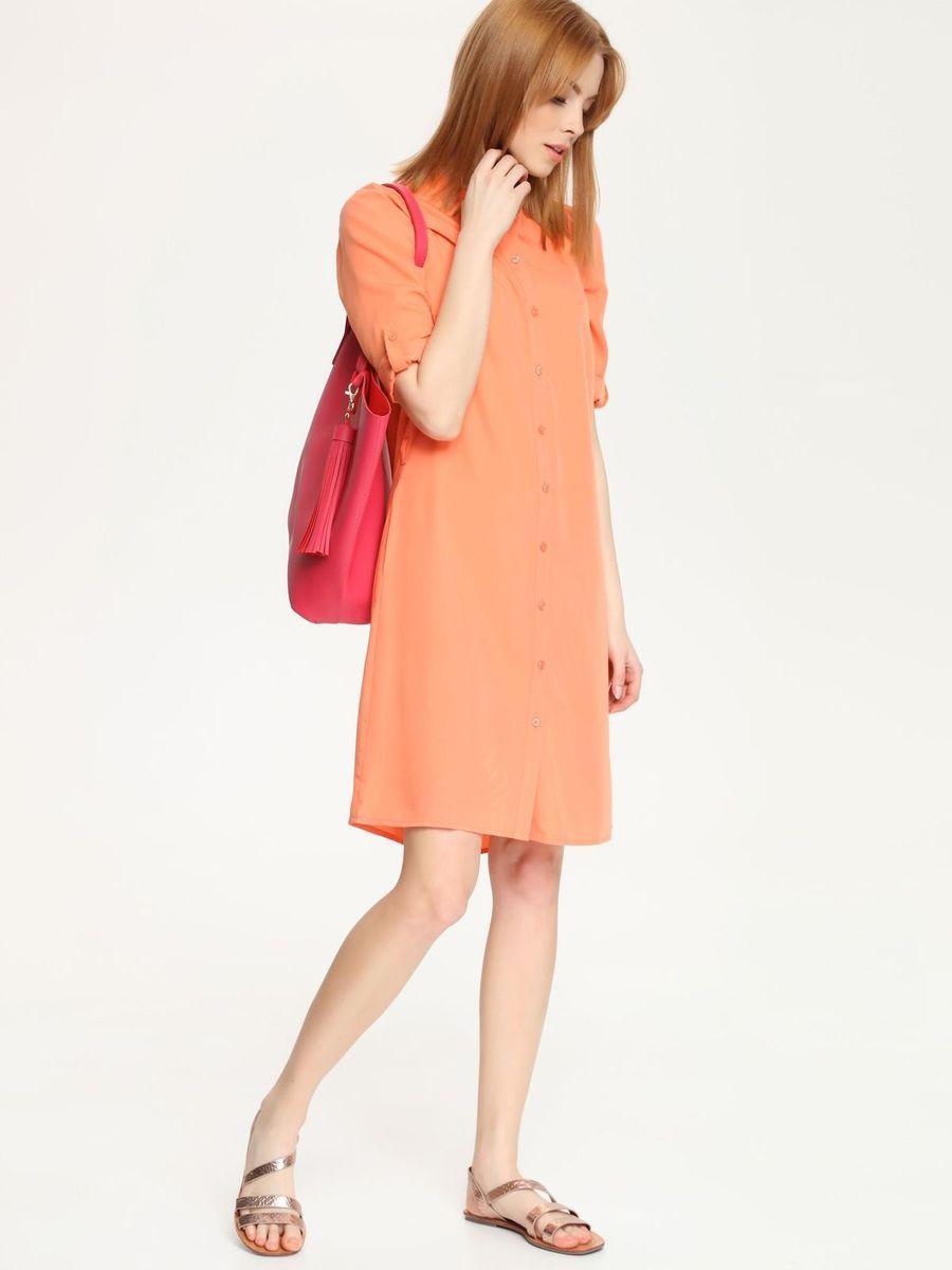 Платье Top Secret, цвет: оранжевый. SSU1520PO. Размер 36 (42)SSU1520POОчаровательное платье Top Secret, выполненное из хлопка с добавлением вискозы с добавлением полиэстера, идеально впишется в ваш гардероб.Модель-миди с воротником-стойкой и рукавами длиной 3/4 застегивается спереди по всей длине на пуговицы. Линию талии подчеркивает пояс. Это модное и удобное платье станет превосходным дополнением к вашему гардеробу. Модель поможет вам подчеркнуть вкус и неповторимый стиль.