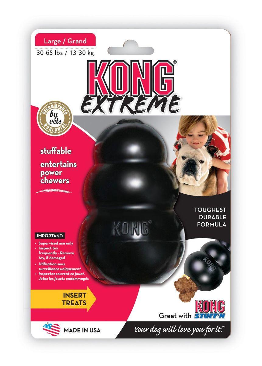Игрушка для собак Kong Extreme, большая, 10 х 6 смK1Kong Extreme игрушка для собак КОНГ для крупных пород собак (13-30 кг) из особо прочной, литой резины.Запатентованная формула резины гарантирует долговечность забавы. Ветеринары и тренеры советуют заполнить игрушку лакомством, тем самым вы сможете с легкостью поддержать отличное настроение питомца, а также предотвратить его нежелательное поведение. Игрушку можно использовать как мячик, при соприкосновении с поверхностью она пружинит и получает непредсказуемую траекторию.