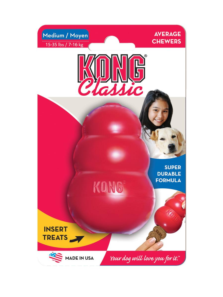 Игрушка для собак Kong Classic, средняя, 8,5 х 5,5 смT2Игрушка для собак средних пород весом 5-15 кг имеет великолепные пружинистые свойства и отлично подходят для собак сильными челюстями.Оригинальная форма игрушки позволяет наполнить ее лакомством, которое собака достает в процессе игры.Ветеринарные врачи и тренеры рекомендуют использование игрушек KONG, наполненных лакомствами, для поддержания хорошего настроения питомца и предотвращения нежелательного поведения.
