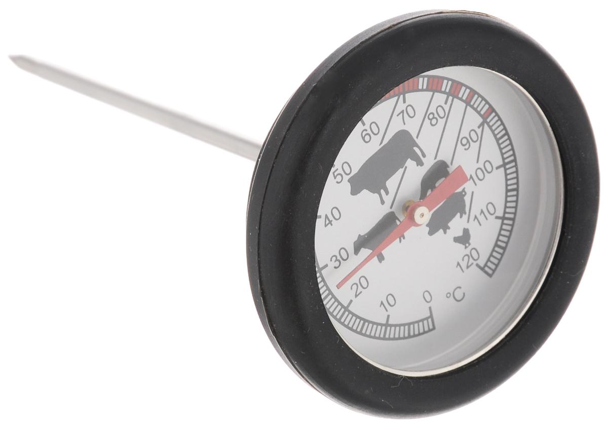 Термометр для стейка Sagaform, цвет: черный5016501_BLACKТермометр Sagaform выполнен из нержавеющей стали, стекла и силикона. Изделие предназначено для определения температуры приготавливаемого блюда. Каждый вид мяса и подходящий для него температурный режим отмечен на шкале термометра. Просто проткните готовящийся стейк и мгновенно узнайте, какова его температура. Термометр для стейка Sagaform откроет новые горизонты в кулинарии. Теперь вы будете знать, как приготовить вкуснейшее мясо любой степени прожарки.