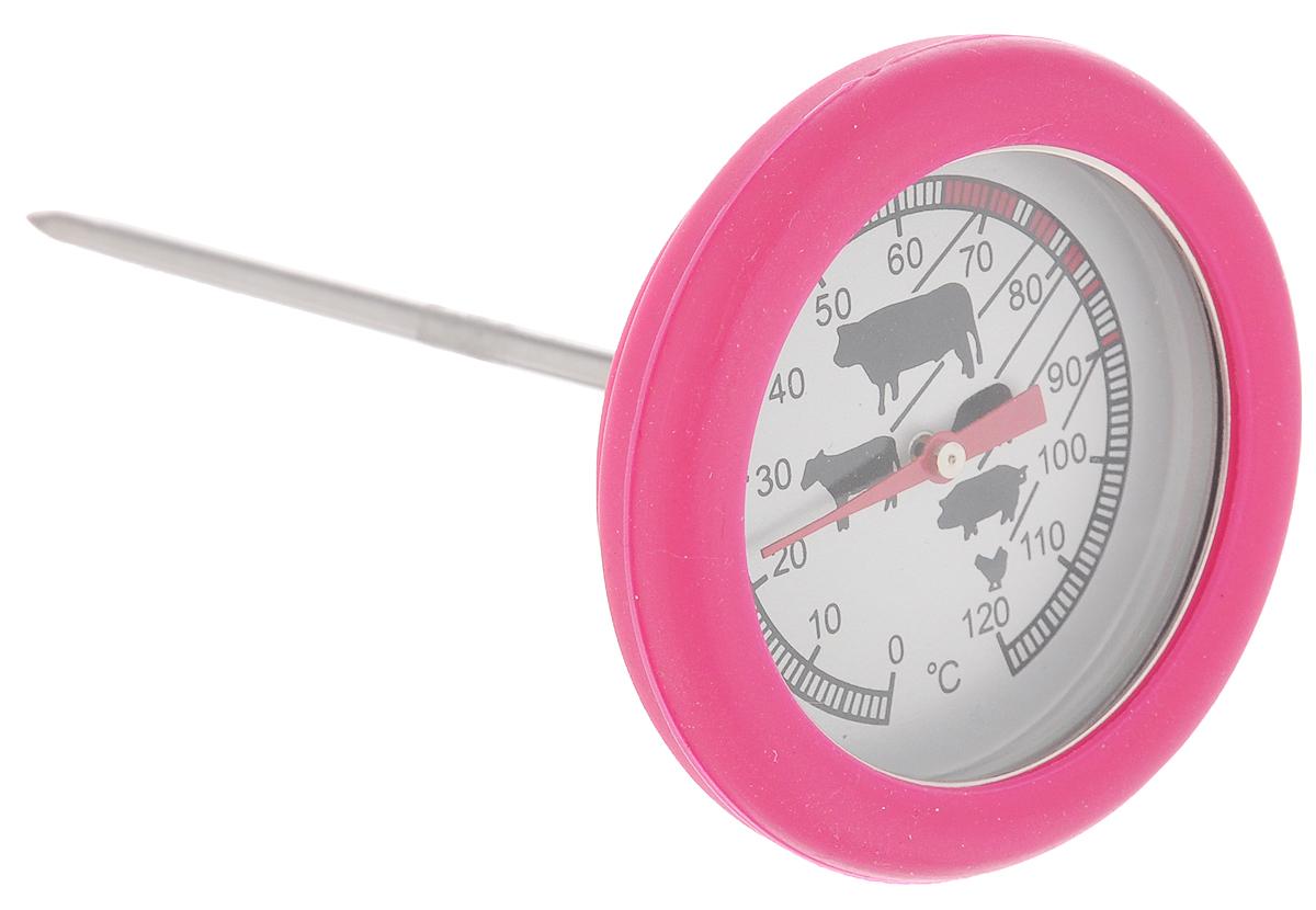 Термометр для стейка Sagaform, цвет: розовый5016501_PINKТермометр Sagaform выполнен из нержавеющей стали, стекла и силикона. Изделие предназначено для определения температуры приготавливаемого блюда. Каждый вид мяса и подходящий для него температурный режим отмечен на шкале термометра. Просто проткните готовящийся стейк и мгновенно узнайте, какова его температура.Термометр для стейка Sagaform откроет новые горизонты в кулинарии. Теперь вы будете знать, как приготовить вкуснейшее мясо любой степени прожарки.
