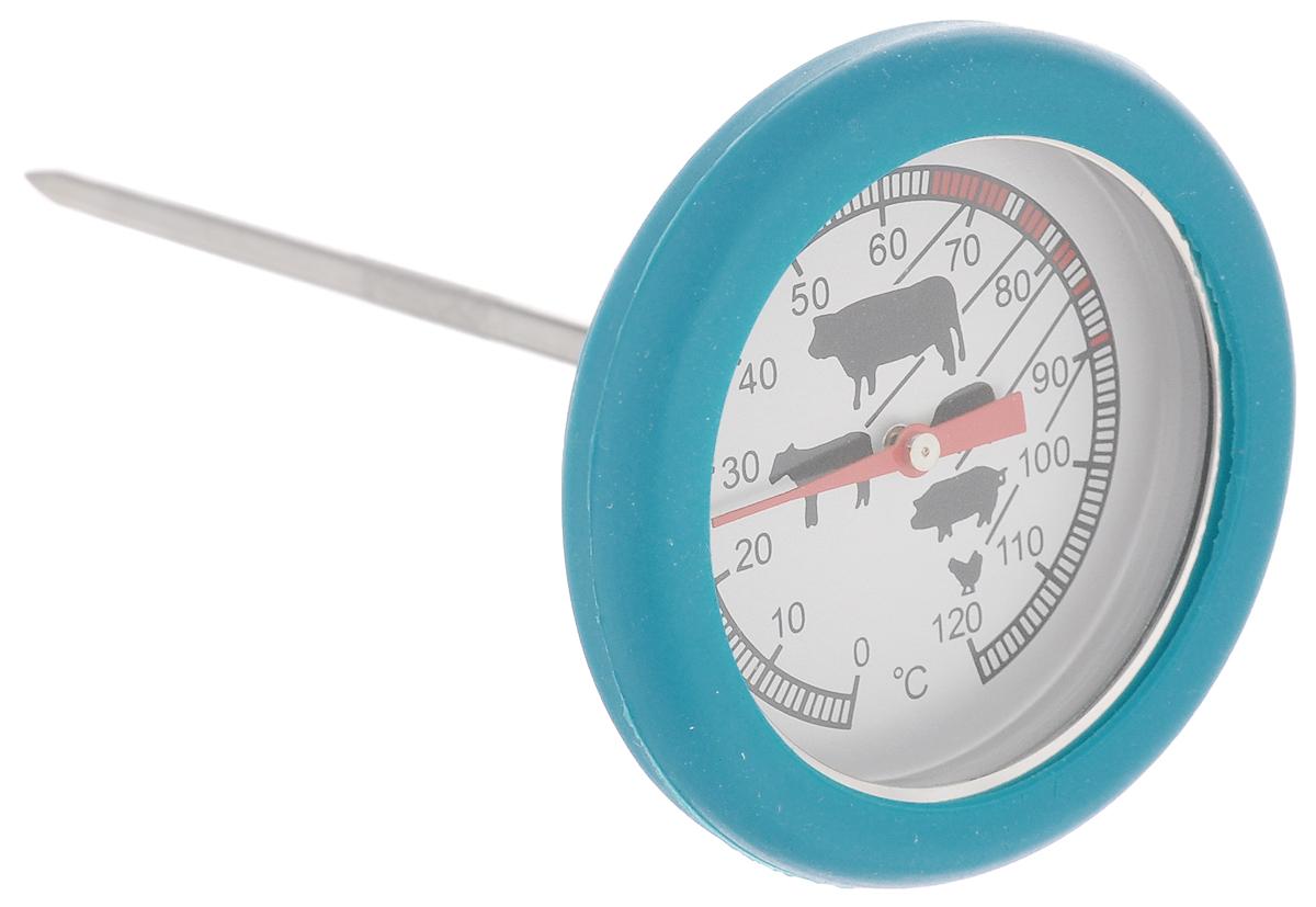 Термометр для стейка Sagaform, цвет: голубой5016501_BLUEТермометр Sagaform выполнен из нержавеющей стали, стекла и силикона. Изделие предназначено для определения температуры приготавливаемого блюда. Каждый вид мяса и подходящий для него температурный режим отмечен на шкале термометра. Просто проткните готовящийся стейк и мгновенно узнайте, какова его температура.Термометр для стейка Sagaform откроет новые горизонты в кулинарии. Теперь вы будете знать, как приготовить вкуснейшее мясо любой степени прожарки.