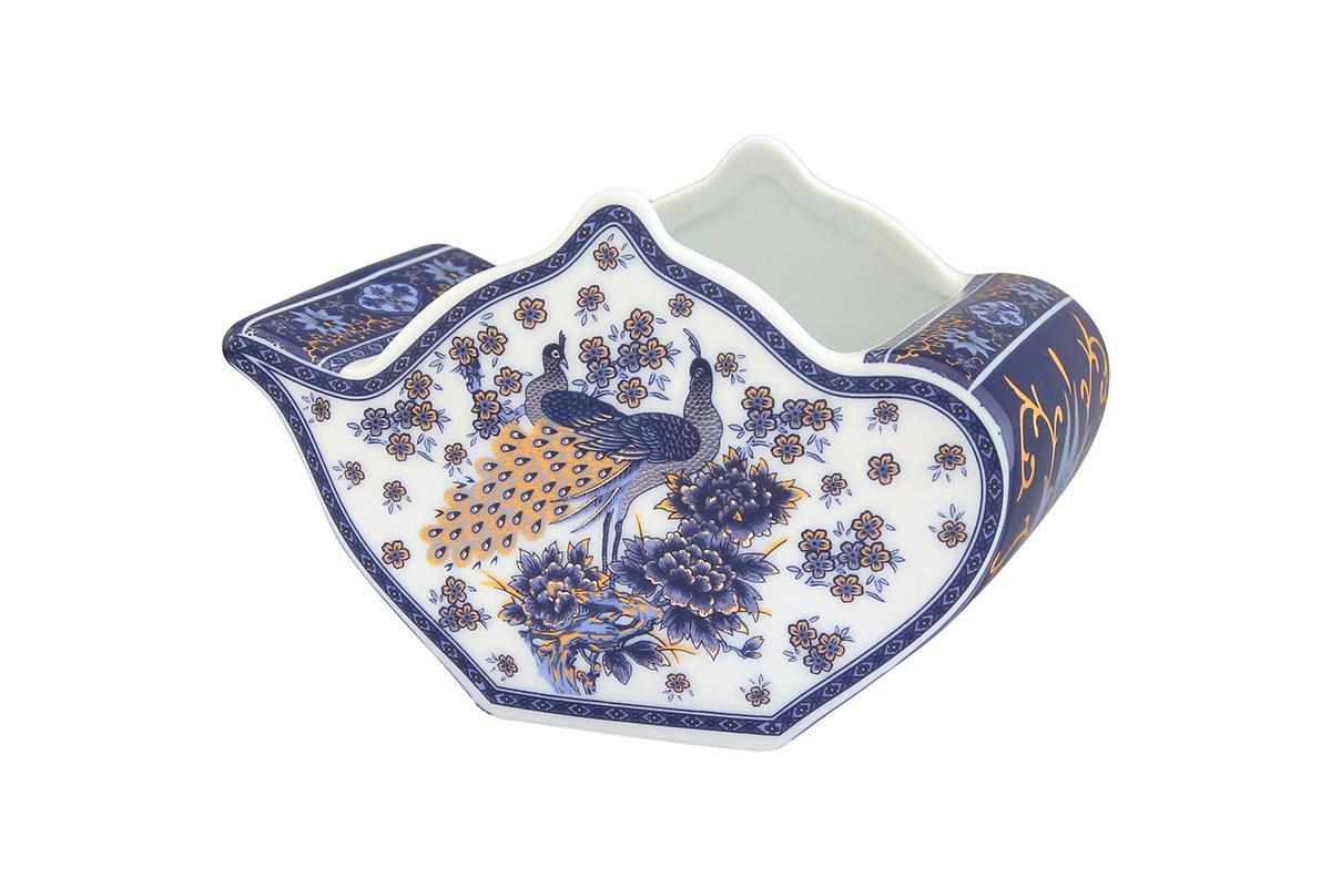 Подставка сервировочная для чайных пакетиков Elan Gallery Чайник. Павлин синий, 12 х 9 х 8 см набор чайных пар elan gallery павлин синий с ложками 6 предметов