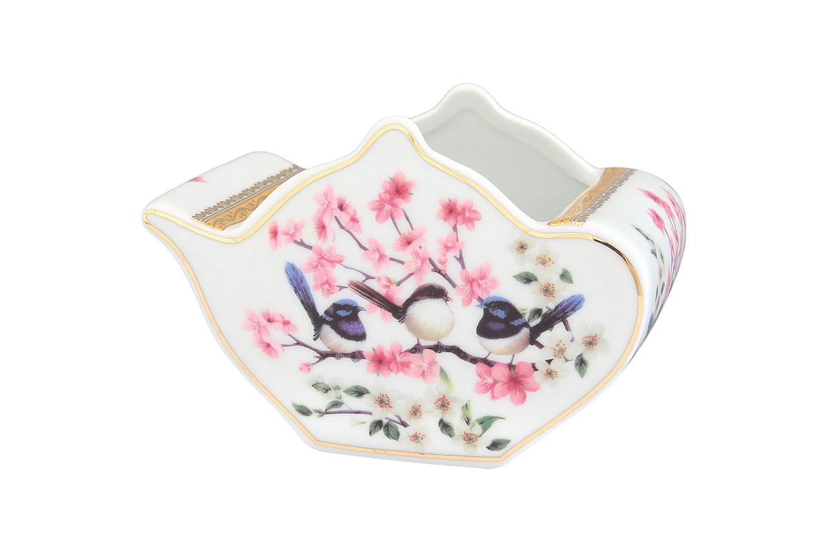 Подставка сервировочная для чайных пакетиков Elan Gallery Чайник. Райские птички, 12 х 9 х 8 см блюда elan gallery подставка для лимона райские птички