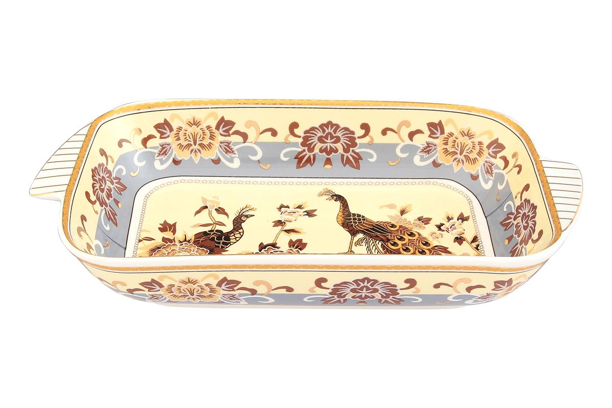 Шубница Elan Gallery Павлин на бежевом, 900 мл504080Шубница Elan Gallery Павлин на бежевом, выполненная из высококачественной керамики, идеальное блюдо для сервировки традиционного салата Сельдь под шубой или любого другого слоеного салата. Компактное, аккуратное блюдо с ручками для удобства станет незаменимым при любом застолье.