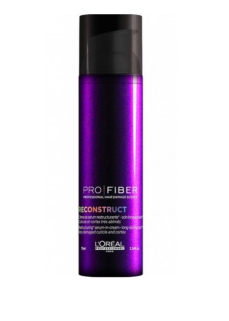 LOreal Professionnel Сыворотка для волос Pro Fiber Reconstruct Leave-In Treatment, 75 млLE1546900Здоровые, блестящие и крепкие волосы – это настоящее украшение женщины. Но использование фенов, утюжков, химически активных средств краски, лаки, спреи) истощают и пересушивают волосы, а также способствуют появлению перхоти. Поэтому важно также пользоваться специальными сыворотками для волос, которые великолепно восстанавливают и укрепляют волосы. Косметическая линия LOreal Professionnel разработала специальную сыворотку для сухих и поврежденных волос LOreal Professionnel Pro Fiber Reconstruct Leave-In Treatment. Сыворотка для волос обогащена миносиланом – специальным силиконовым соединением кремния для укрепления и восстановления структуры волос. Питательное средство эффективно увлажняет и восстанавливает пересушенные волосы. Уже после первого применения волосы приобретают блеск, становятся менее восприимчивыми к воздействию окружающей среды. Сыворотка эффективно укрепляет волосы, придает блеск, мягкость и шелковистость локонам.