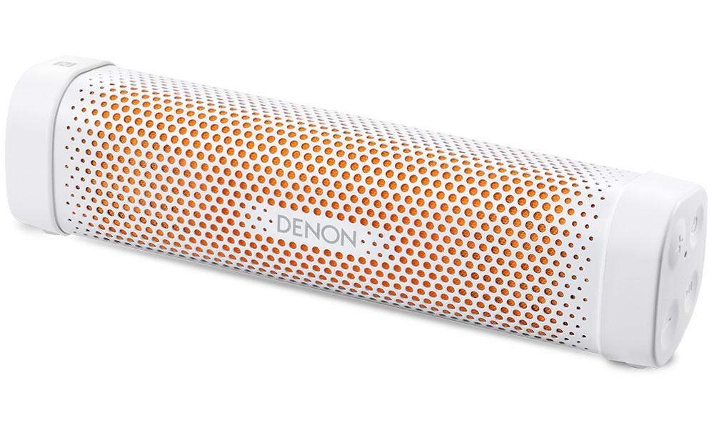 Denon Envaya Mini DSB-100, White портативная акустическая система4951035054956Denon Envaya Mini DSB-100 - надежный спутник путешественника с аккумулятором емкостью 10 часов и активной системой шумоподавления.Корпус может быть установлен вертикально или горизонтально, а отделка представлена новыми комбинациями (черный корпус, голубая вставка и белый корпус, оранжевая вставка) цветов. Прочные и качественные материалы, применяемые при производстве корпуса, гарантировано пройдут проверку временем.Качество звучания - первостепенная цель при создании любого устройства Denon, а более чем 100 летняя история производства Hi-Fi компонентов гарантирует потребителям при покупке устройств Denon уверенность в неизменности принятых стандартов и, в свою очередь, Envaya Mini им полностью соответствует. Использование собственной технологии MaxxAudio и двойных широкополосных динамиков обеспечивает этому миниатюрному устройству, отличные звуковые возможности. Цифровой аудио процессор создает потрясающую звуковую сцену, объемные образы и мощное, хорошо контролируемое звучание.Envaya Mini легко и быстро коммутируется по Bluetooth, а система aptX гарантирует передачу аудио потока с качеством, присущим компакт дискам от любого совместимого устройства. Область быстрого контакта - NFC, позволяет сертифицированным устройствам моментально образовать Bluetooth соединение с Envaya Mini без нажатия дополнительных кнопок, не нужно исследовать устройство, просто наслаждайтесь высоким качеством аудиопотока.