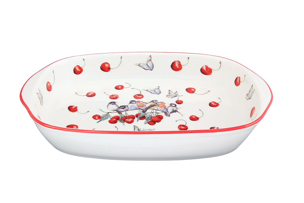 Шубница Elan Gallery Вишня, 900 мл101281Шубница, выполненная из высококачественной керамики, - идеальное блюдо для сервировки традиционного салата Сельдь под шубой или любого другого слоеного салата. Компактное, аккуратное блюдо с ручками для удобства станет незаменимым при любом застолье. Объем: 900 мл.Размер: 28 х 17 х 4,5 см.