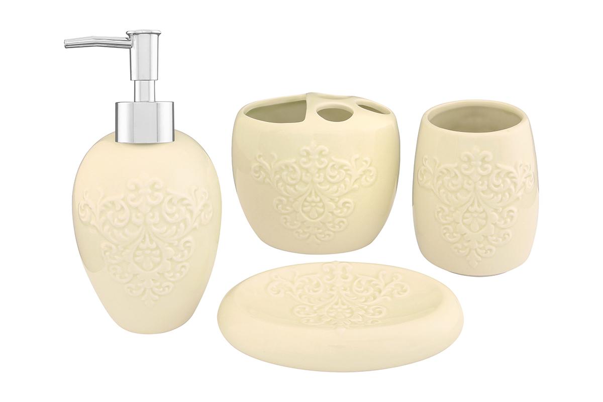 Набор для ванной комнаты Elan Gallery, цвет: молочный, 4 предмета110832Набор для ванной комнаты Elan Gallery включает стакан,подставку для зубных щеток, мыльницу и диспенсер для жидкогомыла с дозатором. Набор выполнен из керамики высокого качества. Все элементы выдержаны в одном стиле, что позволяет создать вванной комнате стильный и оригинальный функционально-декоративный ансамбль. Такой набор аксессуаров придаст интерьерувашей ванной комнаты элегантность и современность. Размер мыльницы: 14,5 х 9,5 х 3,5 см. Размер стакана: 8 х 8 х 11 см. Размер подставки для щеток: 11,5 х 8 х 10 см. Размер диспенсера: 9 х 9 х 19 см.Объем диспенсера: 400 мл.