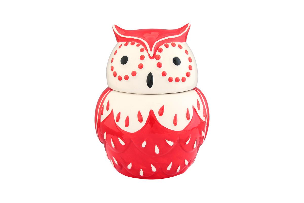 Горшочек для меда Elan Gallery Сова, цвет: красный, 610 мл110839Горшочек для меда Elan Gallery Сова, выполненный из высококачественной керамики, лучший подарок для сладкоежки. Изделие снабжено плотно закрывающейся крышкой. Можно использовать для сыпучих продуктов - соли и сахара.Размер банки: 13 х 12 х 15 см.