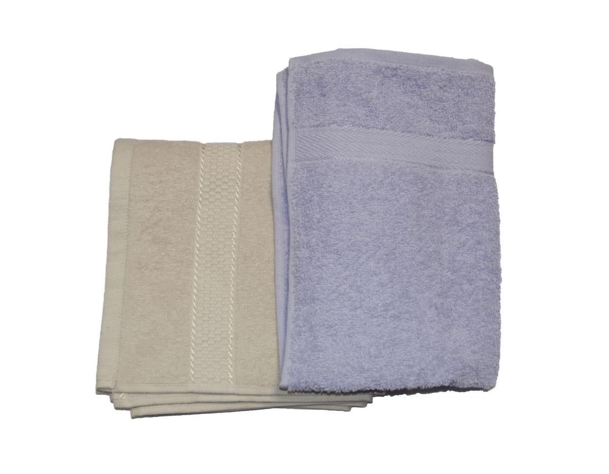 Набор махровых полотенец Aisha Home Textile, цвет: бежевый, сиреневый, 2 шт набор полотенец 2 шт fiesta textile цвет розовый