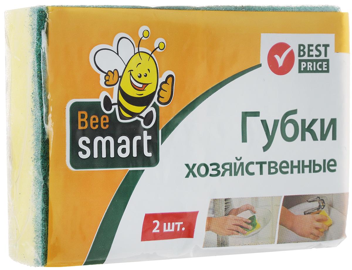 Губка для мытья посуды Beesmart, 2 шт409008Губки Beesmart предназначены для мытья посуды и других поверхностей. Выполнены из пенополиуретана (поролона) и абразивного материала. Мягкий слой используется для деликатной чистки и способствует образованию пены, жесткий - для сильных загрязнений.В комплекте 2 губки.