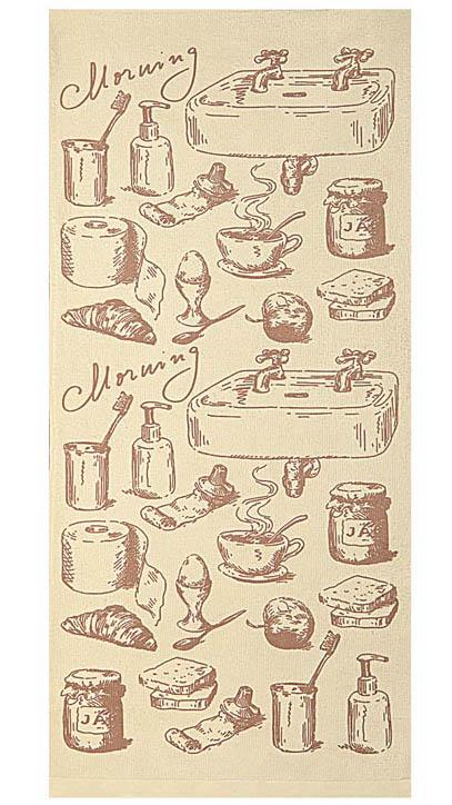 """Кухонное полотенце Soavita """"Kitchen Mix Morning"""", выполненное из высококачественной микрофибры (полиэстер), оформлено оригинальным рисунком. Микрофибра - материал высочайшего качества, изготовленный из сложных микроволокон, по ощущениям напоминает велюр и передающий уникальное и невероятное чувство мягкости. Ткань из микрофибры дышащая, устойчива к загрязнениям и пятнам, сохраняет свой высококачественный внешний вид и уникальную мягкость в течении всего срока службы. Изделие предназначено для использования на кухне и в столовой.  Такое полотенце станет отличным вариантом для практичной и современной хозяйки."""