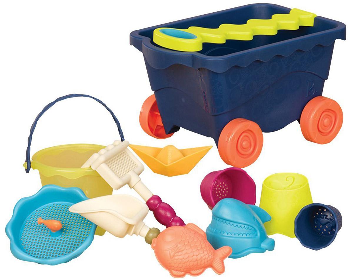 B.Summer Тележка с игровым набором для песка цвет синий - Игры на открытом воздухе