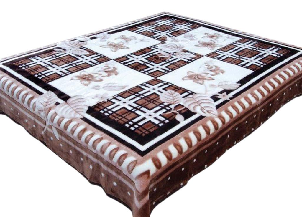 Плед Tamerlan, нестриженый, цвет: белый, коричневый, 200 х 240 см. 6841968419плотность 440 гр/м2