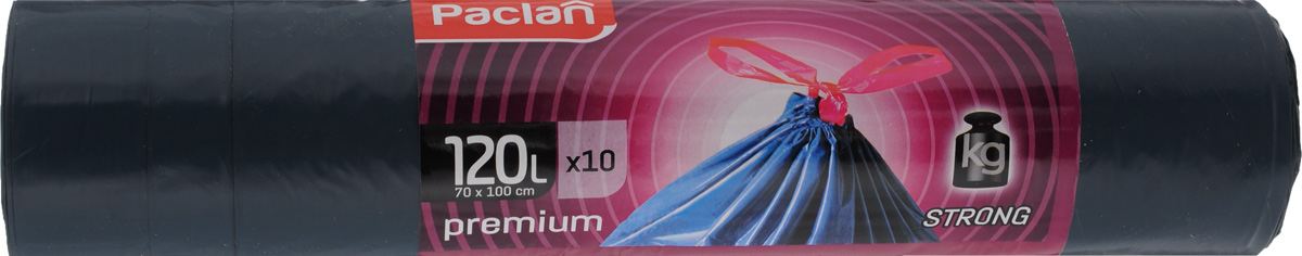 Мешки для мусора Paclan Premium, с завязками, 120 л, 10 шт мешки для мусора лайма особо прочные цвет синий 120 л 10 шт