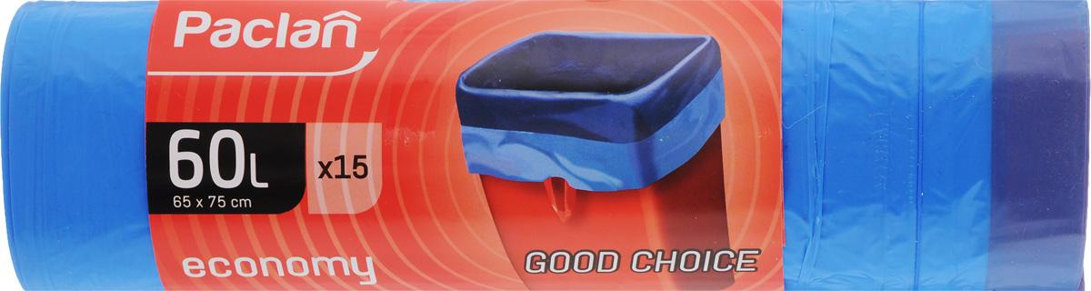 Мешки для мусора Paclan Economy, с завязками, 60 л, 15 шт мешки для мусора paclan big