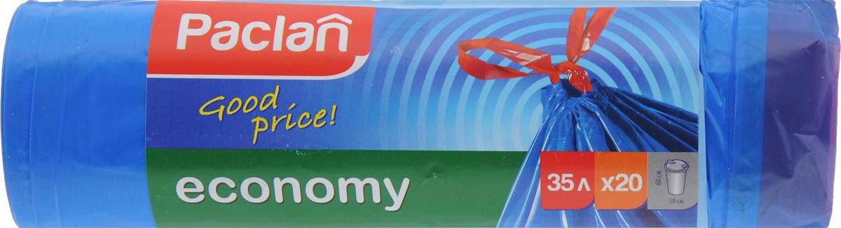Мешки для мусора Paclan Economy, с завязками, 35 л, 20 шт мешки для мусора paclan big