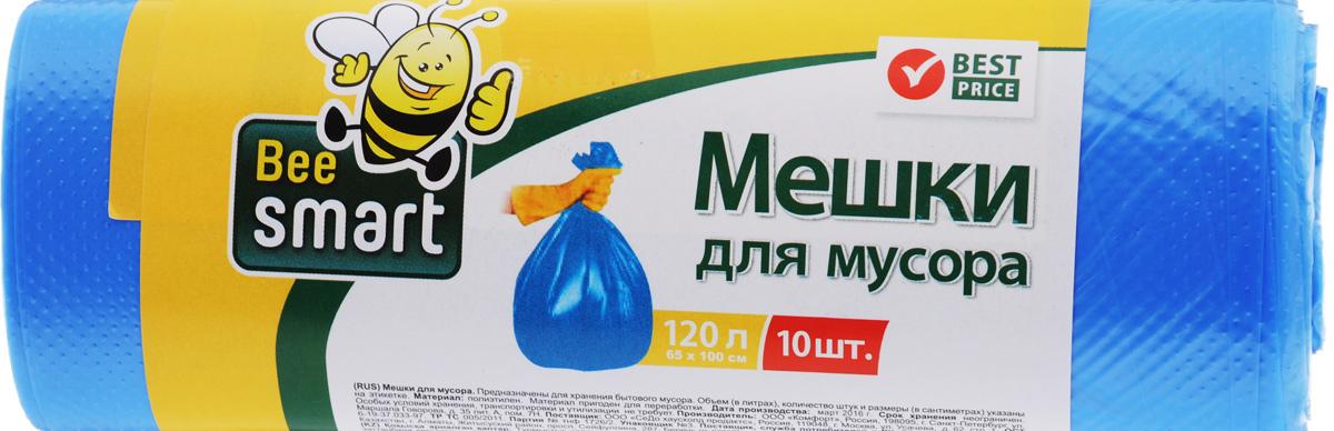 Мешки для мусора Beesmart, 120 л, 10 шт403012/403013Мешки для мусора Beesmart, выполненные из высокопрочного и эластичного полиэтилена, обеспечивают чистоту и гигиену в квартире. Благодаря наличию прочного шва, не пропускают влагу и запахи. Они удобны для сбора и удаления мусора, занимают мало места, практичны в использовании. Широко применяются в быту и на производстве.Размер мешка: 100 х 65 см. Комплектация: 10 шт.