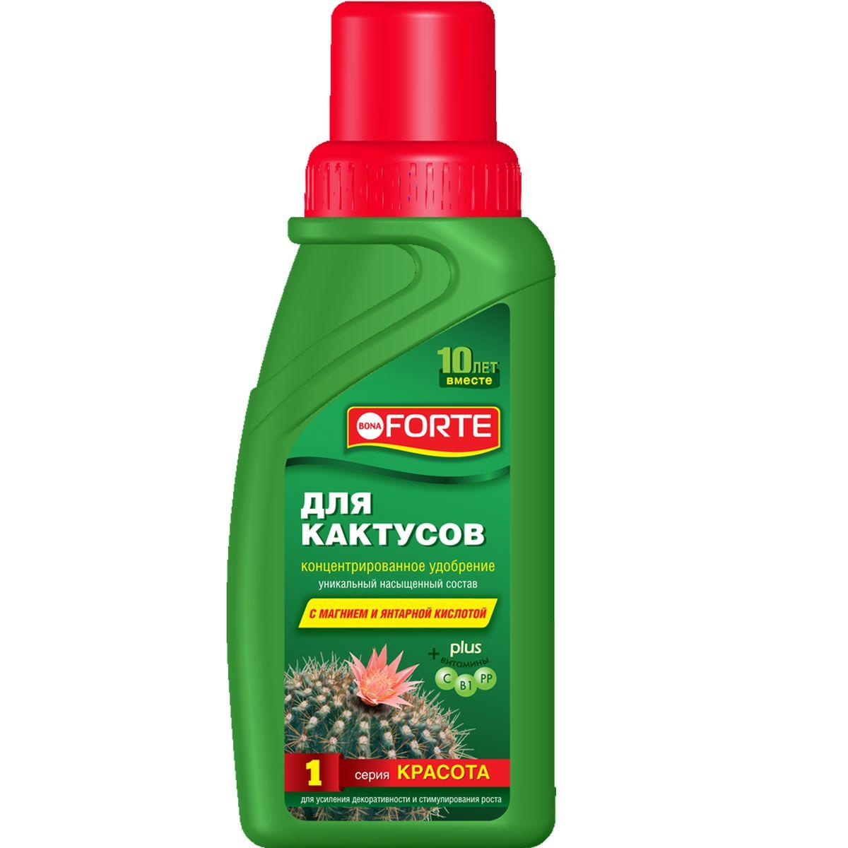 Жидкое комплексное удобрение Bona Forte, для кактусов, 285 млBF-21-01-020-1Жидкое комплексное удобрение для кактусов Bona Forte содержит полный комплекс веществ, необходимых для полноценного и сбалансированного питания растений:- высокая доля (15%) основных элементов (NPK), обеспечивающих усиленное питание для растений,- высокая доля (0,3%) мезоэлемента (Mg), усиливающего процесс фотосинтеза,- комплекс основных микроэлементов в хелатной форме, что способствует полному их усвоению и пролонгированному действию,- комплекс витаминов для поддержания и укрепления иммунной системы растений,- регулятор роста для стимулирования роста растений.Состав:- три основных макроэлемента (NPK): азот (N)-3%, фосфор (P2O5)-5%, калий(K2O)-7%,- основной мезоэлемент (Mg): магний (MgO)-0,3%,- семь микроэлементов: бор, железо, марганец, цинк, медь, молибден, кобальт,- комплекс витаминов: B1, PP, С,- стимулятор роста: янтарная кислота. Товар сертифицирован.