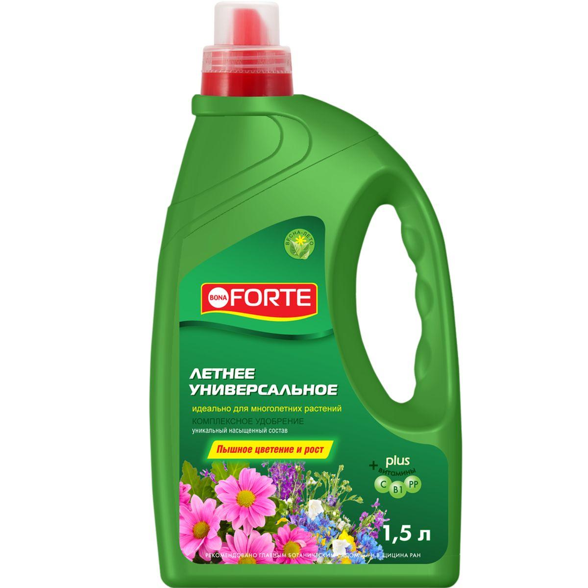 Жидкое комплексное удобрение Bona Forte, универсальное, 1,5 лBF-21-04-015-1Удобрение Bona Forte способствует пышному и яркому цветению, подходит для многолетних растений. Высококонцентрированный, насыщенный состав: - NPK+Mg (5:5:9 + 1,5 ); - микроэлементы (в хелатной форме); - витамины; - стимулятор роста - янтарная кислота.Товар сертифицирован.