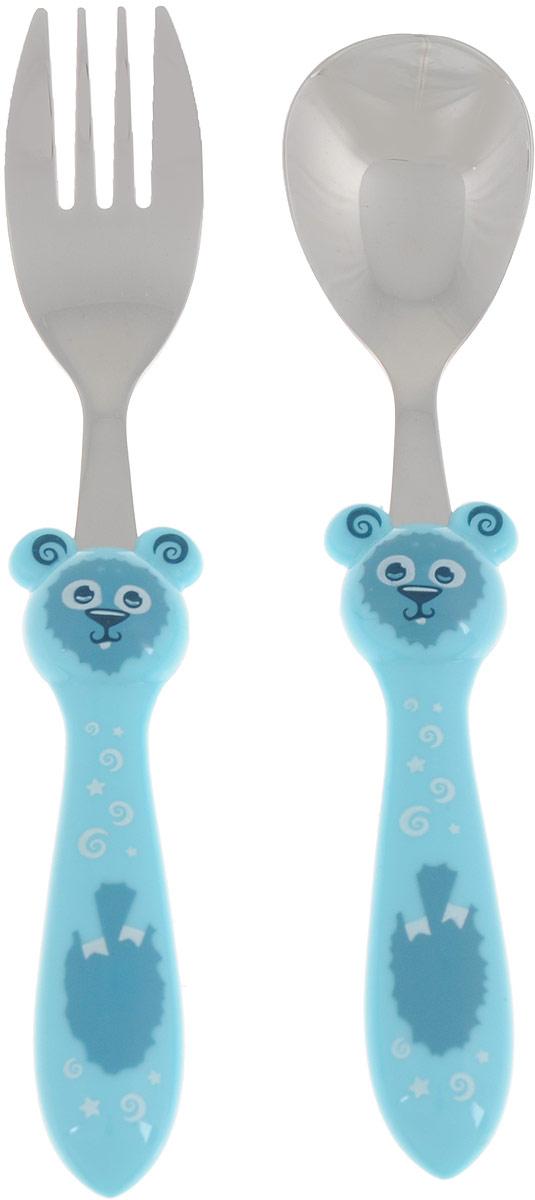 Набор детских столовых приборов Apollo Kiddy, цвет: голубой, 2 предметаKDY-01_голубойДетский набор Apollo Kiddy состоит из ложки и вилки, выполненных из высококачественной нержавеющей стали с зеркальной полировкой. Ручки изделий выполнены из пищевого пластика в оригинальной форме. Эксклюзивный дизайн, эстетичность и функциональность набора позволят ему занять достойное место среди кухонного инвентаря. Рекомендуется мыть вручную.Длина вилки: 16,5 см. Длина ложки: 16 см.