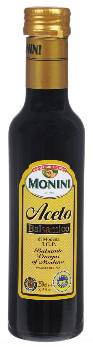 Винный бальзамический уксус Monini Aceto Balsamico выдерживается в деревянных бочках не менее 3 лет. Благодаря прекрасному вкусу и аромату, он идеально подходит для маринадов, десертов, закусок и других блюд.Кислотность: 6%